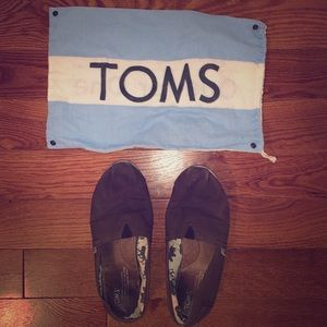 Brown Slip On Toms with Bag
